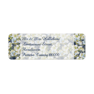 Hellebores dark blue shaded pattern return address label