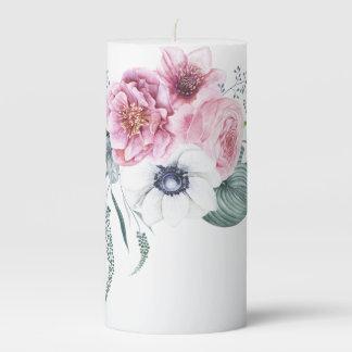 Helleborus Anemone Peony Mauve Pink White Unity Pillar Candle