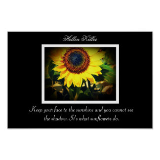 Hellen Keller Sunflower quote Poster