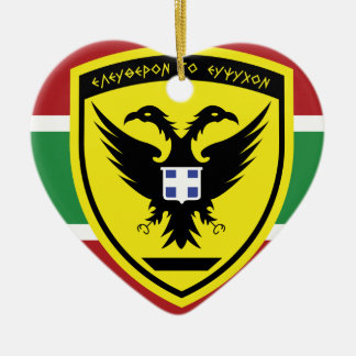 Hellenic Army Seal, Greece Double-Sided Heart Ceramic Christmas Ornament