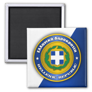 Hellenic Republic (Greece) Medallion 2 Inch Square Magnet