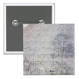Hellenistic epigraph stone , found in Ephesus Pinback Button