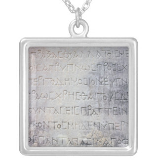 Hellenistic epigraph stone , found in Ephesus Silver Plated Necklace