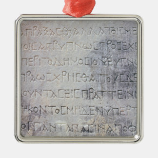Hellenistic epigraph stone , found in Ephesus Square Metal Christmas Ornament
