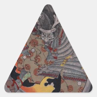 Hellfire del samurai pegatina triangular
