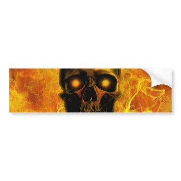 Halloween Themed Hellfire skull bumper sticker