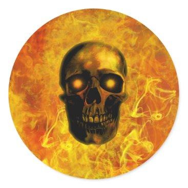 Halloween Themed Hellfire skull classic round sticker