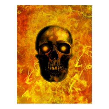 Halloween Themed Hellfire skull postcard