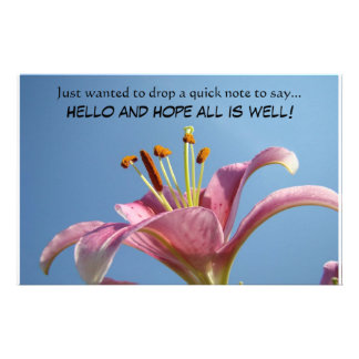 HELLO and HOPE all is well! Stationery Quick Note