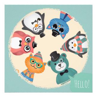 Hello! Animal Friends Circle Photo Print