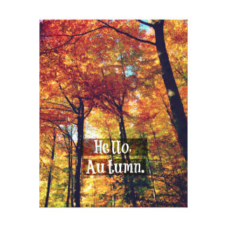 Hello Autumn: Colorful Trees and Leaves Canvas Print