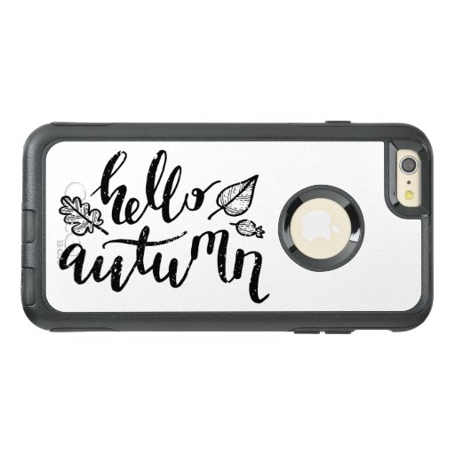 Hello Autumn Leaves Black and White Calligraphy OtterBox iPhone 6/6s Plus Case