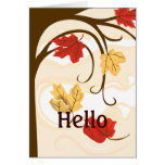 Hello Autumn Leaves Greeting Card
