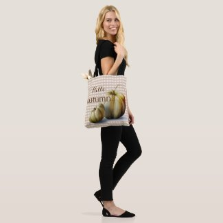 """Hello Autumn!"" Pumpkins and Plaid Autumn Tote Bag"