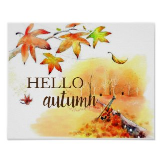 """Hello Autumn"" watercolor print poster home decor"
