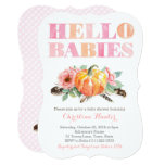 HELLO BABIES Twin Baby Girls Shower or Sip and See Invitation