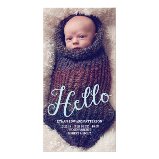 Hello Baby Boy Modern Birth Announcement Photocard Picture Card