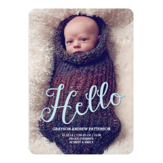 Hello Baby Boy Modern Birth Announcement Photocard