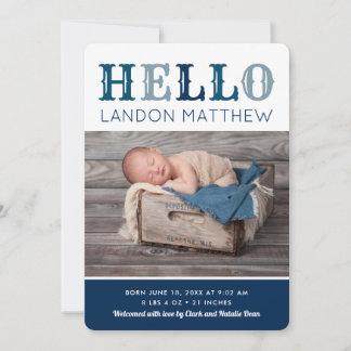 Hello Baby Boy Photo Birth Announcement