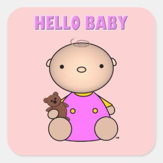 Hello Baby Girl Square Sticker
