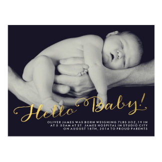 Hello Baby Gold Birth Announcement Photo Postcard