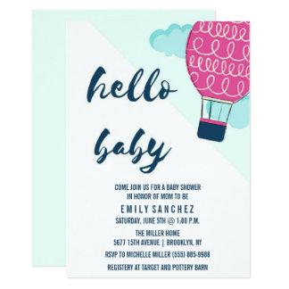 Hello Baby Hot Air Balloon Baby Shower Invitation