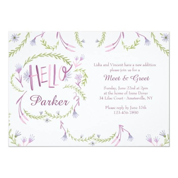 Hello Baby Meet and Greet Invitation | Zazzle