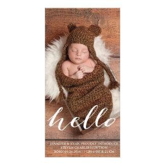 HELLO BABY MODERN BIRTH ANNOUNCEMENT PHOTOCARD PHOTO CARD