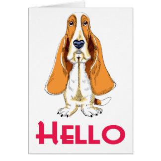 Hello Basset Hound Puppy Dog Note Card