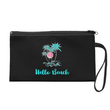 Beach Themed Hello Beach Tropical Summer Modern Black Wristlet Purse