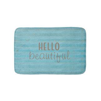 Hello Beautiful Chic And Trendy Striped Design Bathroom Mat