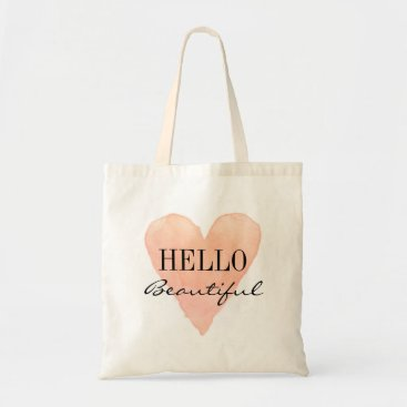 Valentines Themed HELLO BEAUTIFUL coral pink love heart tote bag