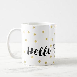 Hello Beautiful Gold Glitzy Dots Confetti Coffee Mug