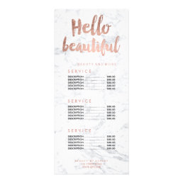 Hello beautiful gold typography marble price list rack card