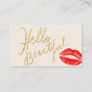 Gold lips business cards templates zazzle hello beautiful gold typography red lips print business card colourmoves