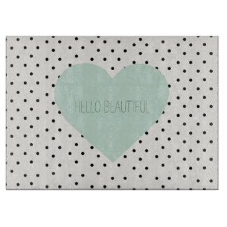 Hello Beautiful Heart Glass Cutting Board