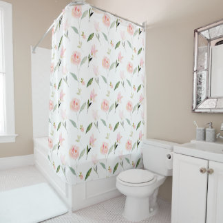 Exceptional Hello Beautiful Pink Watercolor Floral Shower Curtain