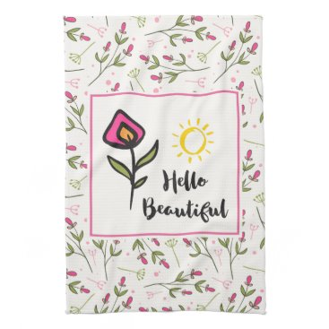 font themed Hello Beautiful Pretty Pink Orange Wildlflower Hand Towels