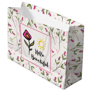 Hello Beautiful Pretty Pink Orange Wildlflower Large Gift Bag