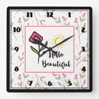 Hello Beautiful Pretty Wildlflowers and Sun Square Wall Clock