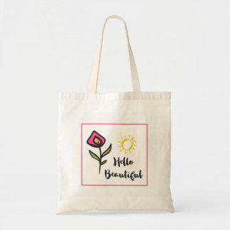Hello Beautiful Pretty Wildlflowers and Sun Tote Bag