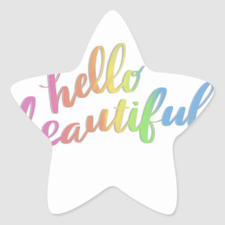 HELLO BEAUTIFUL RAINBOW CALLIGRAPHY STAR STICKER