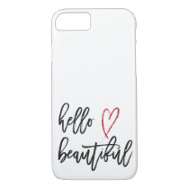 Hello Beautiful Red Heart Brush Stroke iPhone 8/7 Case