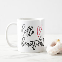 Hello Beautiful Red Heart Brush Stroke Coffee Mug