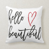 Hello Beautiful Red Heart Brush Stroke Throw Pillow