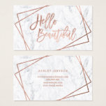 "Hello beautiful rose gold script geometric marble business card<br><div class=""desc"">A modern,  stylish custom name beauty business card with modern hand lettering style elegant brush typography saying Hello beautiful in faux rose gold foil on a geometric faux rose gold doubles stripes frame ona modern white marble background. If you need any customization,  don&#39;t hesitate in contacting me</div>"
