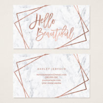 Hello beautiful rose gold script geometric marble business card