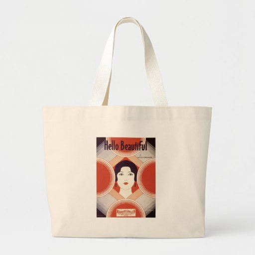 Hello Beautiful Vintage Songbook Cover Canvas Bags