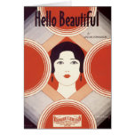 Hello Beautiful Vintage Songbook Cover Card