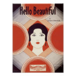 Hello Beautiful Vintage Songbook Cover Poster